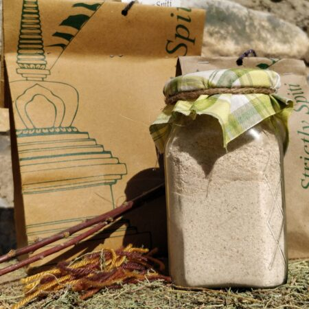 barley powder jar and bag display