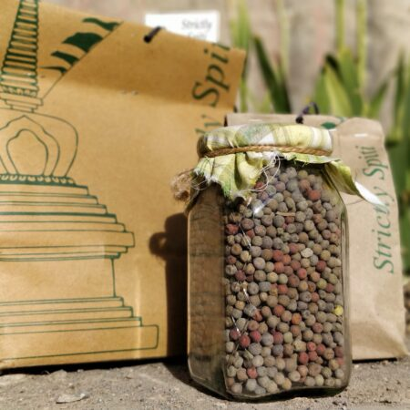product display black peas bag and jar