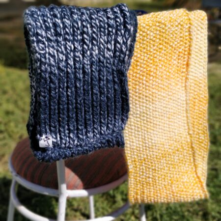 blue and yellow cowls display